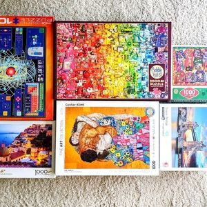 Lot of 6 Puzzles; 1000-2000 Pieces